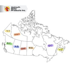 map showing provinces that have solar incentives