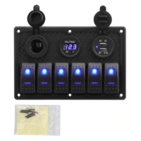 Digital Voltage Display 6 Gang Rocker Switch Panel With 4.2A Dual USB Slot Socket Waterproof IP65