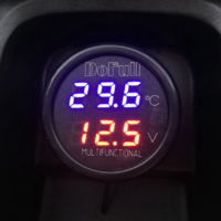 3 in 1 car charger USB Charger Digital Car Battery Voltage Voltmeter Temperature Meter Monitor for 12V and 24V Battery